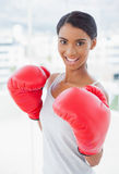 Competitive cheerful model wearing red boxing gloves Stock Photography