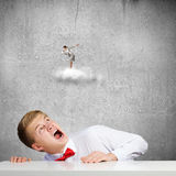 Competitive concept. Businessman screaming at businesswoman standing on cloud Stock Photography