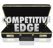 Competitive Edge Briefcase Sales Advantage Presentation Proposal. Competitive Edge 3d words in a black leather briefcase to illustrate a sales presentation or Stock Image