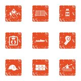 Competitive icons set, grunge style. Competitive icons set. Grunge set of 9 competitive vector icons for web isolated on white background Stock Photos