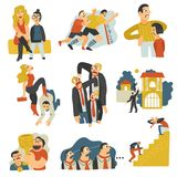 Competitive Rivalry Flat Icons Collection. Competitive rivalry in business for social status territory leadership mates profit prestige flat icons set vector vector illustration