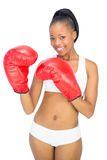 Competitive smiling model wearing red boxing gloves Stock Image