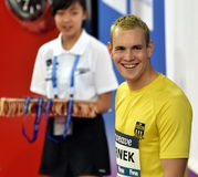 Competitive swimmer Peter BERNEK HUN. Hong Kong, China - Oct 29, 2016. Competitive swimmer Peter BERNEK HUN at the Victory Ceremony of  the Men`s Freestyle 400m Royalty Free Stock Photography