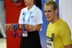 Competitive swimmer Peter BERNEK HUN. Hong Kong, China - Oct 29, 2016. Competitive swimmer Peter BERNEK HUN at the Victory Ceremony of  the Men`s Freestyle 400m Stock Photo