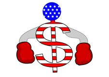 Competitive US dollar. An illustration of a dollar symbol with boxing gloves on ready to put on a good fight Stock Image