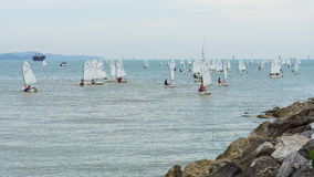 Competitor boats set sail Stock Images