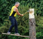A competitor chops his log with an axe in the wood chopping event at a country show. High in the air royalty free stock images