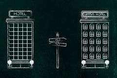 Competitor hotels with road sign with Yes and No texts Royalty Free Stock Image