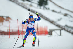 Competitor in IBU Youth&Junior World Championships Biathlon Royalty Free Stock Image