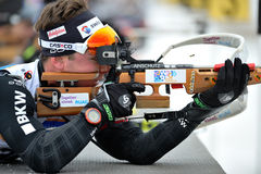 Competitor in IBU Youth&Junior World Championships Biathlon Royalty Free Stock Images