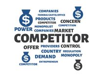 COMPETITOR - image with words associated with the topic MONOPOLY, word cloud, cube, letter, image, illustration Stock Image