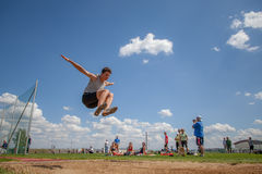 Competitor in the long jump Royalty Free Stock Photo