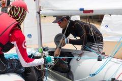 Competitor preparing his boat Stock Photo