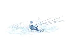 Competitore nella corsa con gli sci di acqua Immagine Stock