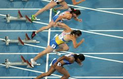 Competitors of 100m Women Stock Photo