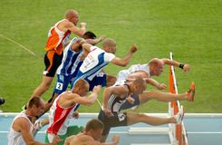 Competitors of 110m Hurdles Men. During the 20th European Athletics Championships at the Olympic Stadium on July 30, 2010 in Barcelona, Spain Stock Image