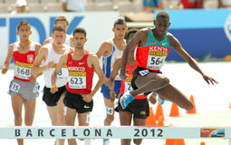 Competitors of 3000m steeplechase. Event during the 20th World Junior Athletics Championships at the Olympic Stadium on July 13, 2012 in Barcelona, Spain Stock Images