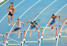 Competitors of 400m Hurdles Men. During the 20th European Athletics Championships at the Olympic Stadium on July 29, 2010 in Barcelona, Spain Stock Photos