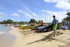 Competitors on beach before 10K Up Paddle Board race Royalty Free Stock Image
