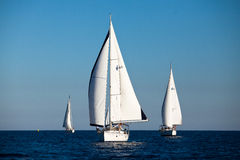 Competitors boats during of sailing regatta Royalty Free Stock Photos