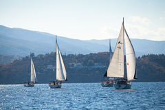 Competitors boats during of sailing regatta Royalty Free Stock Photo