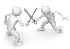 Competitors crossing swords Royalty Free Stock Photo