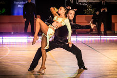 Competitors dancing latin dance on the conquest Royalty Free Stock Photo