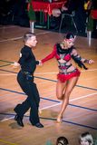 Competitors dancing latin dance on the conquest Stock Photos