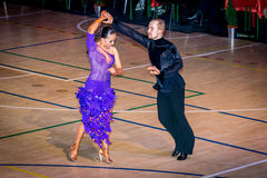 Competitors dancing latin dance on the conquest Stock Image