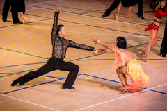 Competitors dancing latin dance on the conquest Royalty Free Stock Image