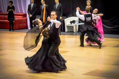 Competitors dancing slow waltz on  the dance conquest Royalty Free Stock Photography