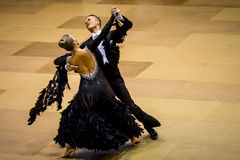 Competitors dancing slow waltz on  the dance conquest Royalty Free Stock Photo
