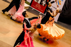 Competitors dancing slow waltz on  the dance conquest Royalty Free Stock Images