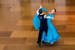 Competitors dancing slow waltz on  the dance conquest Stock Image