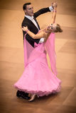Competitors dancing slow waltz on  the dance conquest Stock Images
