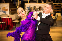 Competitors dancing slow waltz on  the dance conquest Royalty Free Stock Image