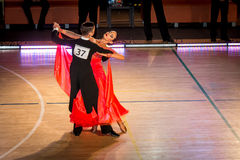 Competitors dancing slow waltz on  the dance conquest Stock Photos