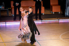 Competitors dancing slow waltz on  the dance conquest Stock Photography