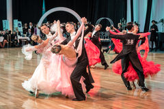 Competitors dancing slow waltz or tango Stock Photos