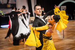 Competitors dancing slow waltz or tango Royalty Free Stock Image
