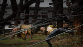 Competitors falling from ropes at 2014 Tough guy obstacle race Stock Image