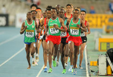 Competitors on 5000 meters stock photo