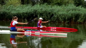 Competitors National team in a kayak. Zabalj;Serbia; 08.03.2016.National team rowers in a kayak on the preparations for the Summer Olympic Games 2016. Video clip stock footage