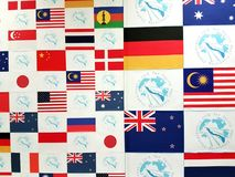 Competitors Nationality Wall, Pan Pacific Freediving Championship 2018. The wall of nationalities at the entrance to the Freediving Pan Pacific Championship Royalty Free Stock Photo