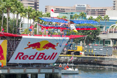 Competitors perform a flight on Red Bull Flugtag Royalty Free Stock Photos