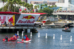 Competitors perform a flight on Red Bull Flugtag Royalty Free Stock Images