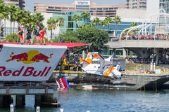 Competitors perform a flight on Red Bull Flugtag Stock Photography