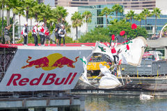 Competitors perform a flight on Red Bull Flugtag Stock Images