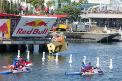 Competitors perform a flight on Red Bull Flugtag Royalty Free Stock Image