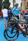 Competitors preparing before triathlon race Royalty Free Stock Photo